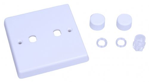 Varilight WQ2W White Plastic 2 Gang Dimmer Plate Only + Dimmer Knobs